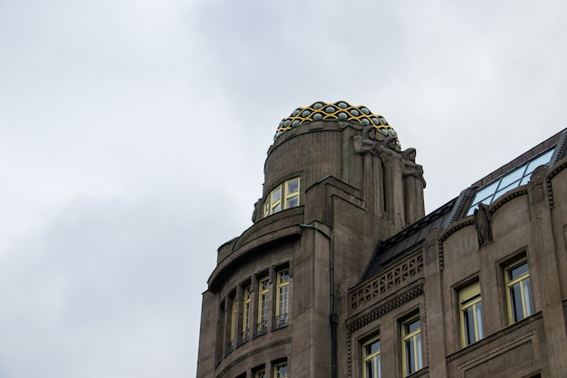 Low angle shot of an art deco building on the wenceslas square in prague, the czech republic