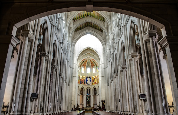 Low angle shot of the beautiful altar in catedral de la almudena captured in madrid, spain