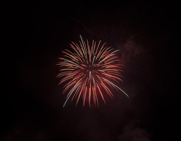 Low angle shot of a beautiful red firework isolated on black sky