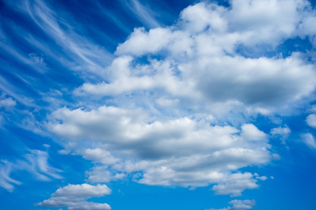 Inquadratura dal basso di un cielo nuvoloso blu durante il giorno