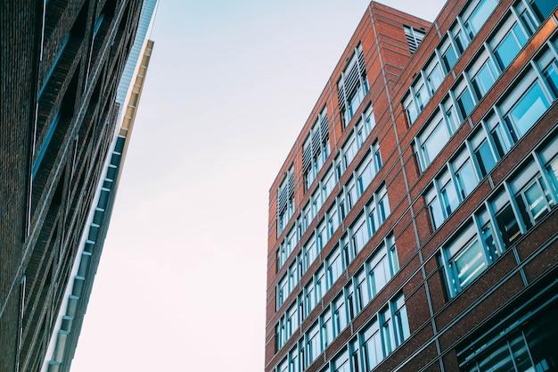 Colpo di angolo basso delle costruzioni di appartamento concrete con molte finestre