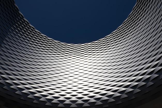 Inquadratura dal basso di una parete di forma curva con un design moderno