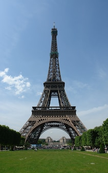 Low angle shot of the famous eifel tower at daytime in paris, france