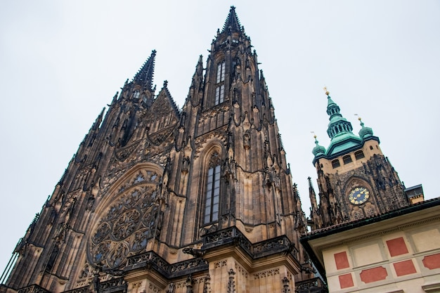 Low angle shot of the famous metropolitan cathedral of saints vitus in prague, czech republic