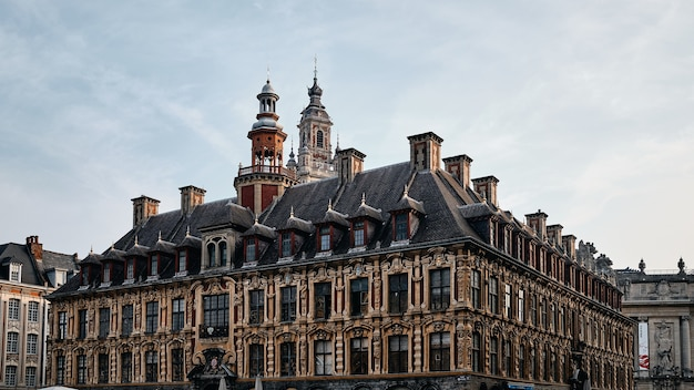 Low angle shot of the famous vieille bourse in lille in france