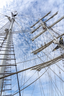 Low angle shot of the masts, rigging, and ropes of a large sailing vessel under a cloudy sky