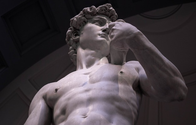 Low angle shot of michelangelo's david in the gallery of the academy of florence