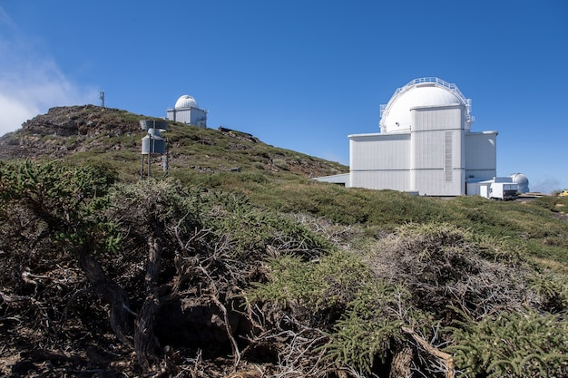 Low angle shot of observatory on top of caldera de taburiente volcano on la palma on canary islands