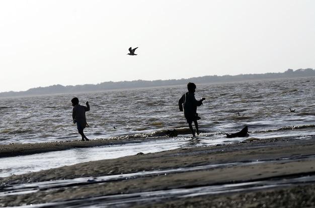 Низкий угол снимка детей, гуляющих по пляжу