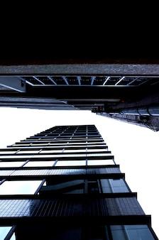 도시에있는 두 개의 큰 고층 빌딩의 낮은 각도 샷