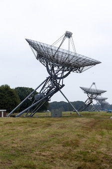 Low angle shot of a radio telescope near westerbork in the netherlands