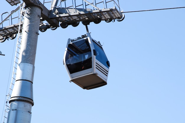 Low angle shot of a ropeway under the clear sky