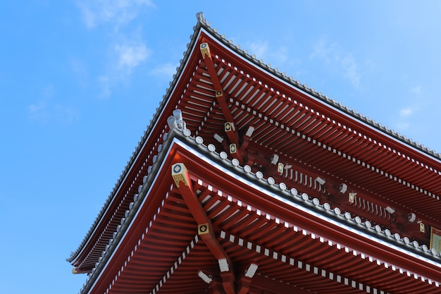 Low angle shot of the side of tokyo's oldest senso-ji temple