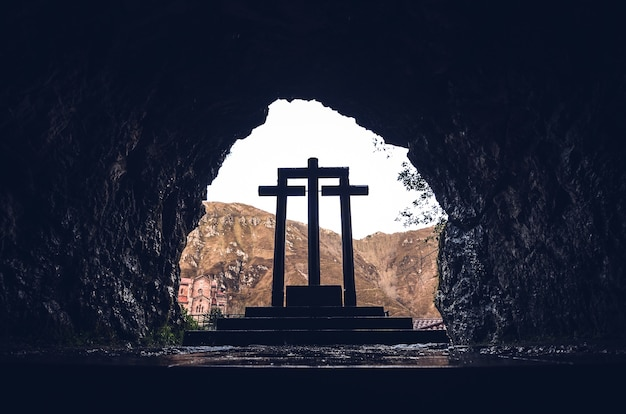 Low angle shot of the stone crosses of the sanctuary of covadonga, covadonga, spain