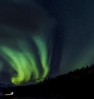 Sot angolo basso di aurora boreale verde in norvegia