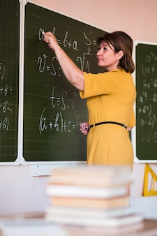 Low angle teacher explaining at chalkboard