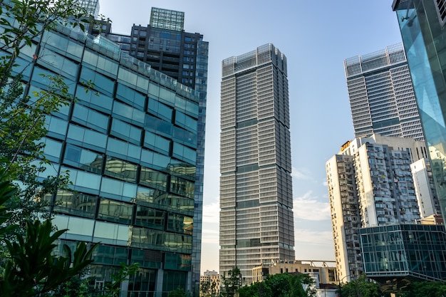 Low angle view of business buildings in shanghai, china