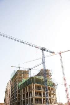파란과 백색 하늘에 대하여 건설 크레인과 건물의 낮은 각도보기