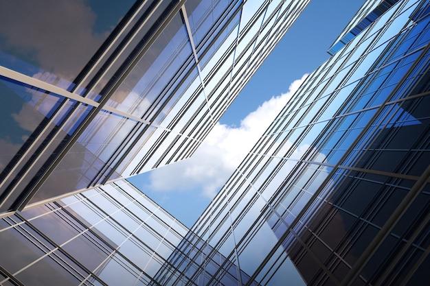 미래 건축의 낮은 각도, 회사 사무실 건물의 마천루, 3d 렌더링.