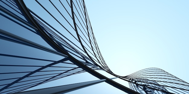 미래 건축의 낮은 각도, 곡선 유리창이 있는 사무실 건물의 마천루, 3d 렌더링.
