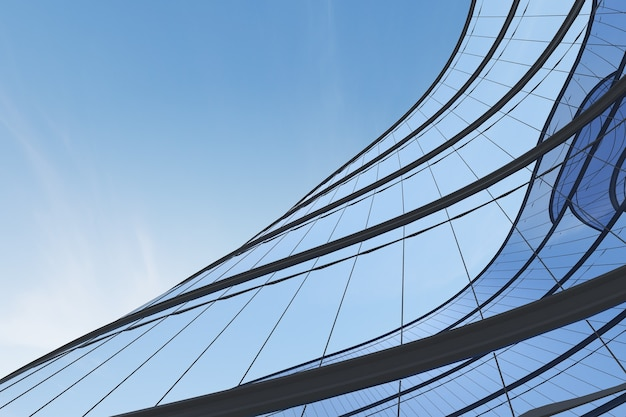 미래 건축의 낮은 각도, 곡선 유리창이 있는 사무실 건물의 고층 빌딩, 3d 렌더링.