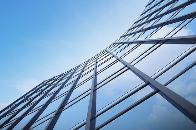 Низкий угол обзора футуристической современной архитектуры, небоскреб корпоративного офисного здания, 3d-рендеринг.