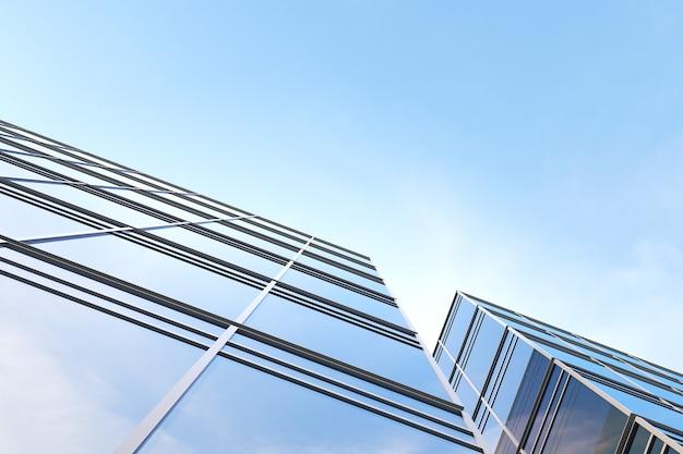 미래 지향적인 현대 건축의 낮은 각도, 회사 사무실 건물의 마천루, 3d 렌더링.