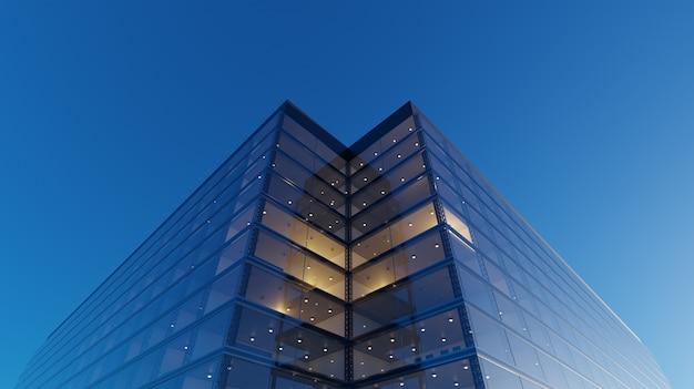 일반 현대 사무실 고층 빌딩, 유리 파사드가있는 고층 건물의 낮은 각도보기. 재정 및 경제 배경의 개념. 3d 렌더링.