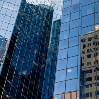 Low angle view of office buildings, golden square mile, montreal, quebec, canada