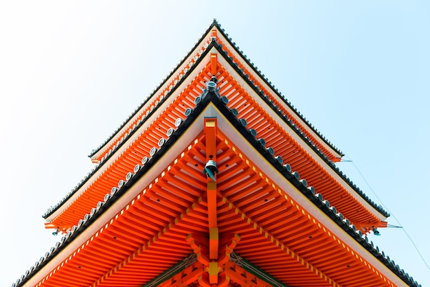 Low angle view of one of the red pagodas at kiyomizudera temple in kyoto japan
