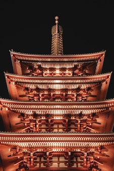 Inquadratura dal basso della casa pagoda rossa