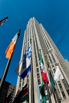 Low angle view of a skyscraper, rockefeller center, midtown manhattan, new york city, new york state