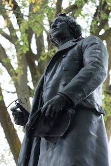 Low angle view of statue of john a. macdonald, parliament hill, ottawa, ontario, canada