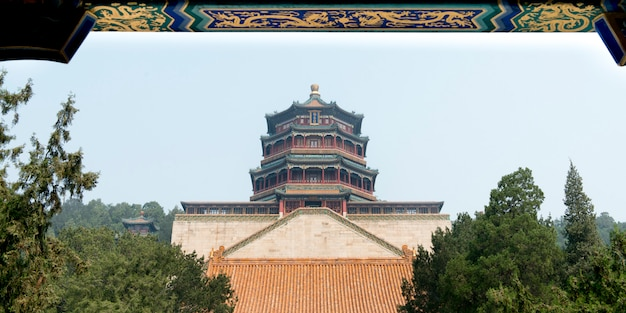 Low angle view of the tower of buddhist incense, longevity hill, summer palace, haidian district, be