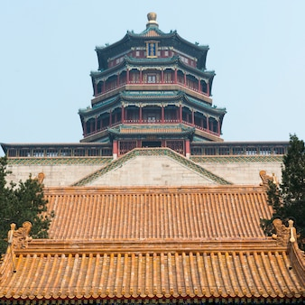 Low angle view of tower of buddhist incense at longevity hill, summer palace, haidian district, beij