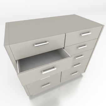 Low cabinet isolate on white background. 3d rendering