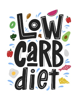 Low carb diet black lettering isolated on white background with colorful food