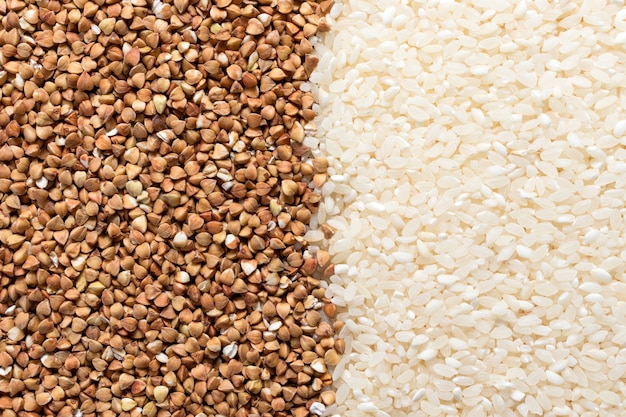 구색, 귀리, 쌀, 콩, 메밀, 병아리 콩의 저탄수화물 프리미엄 사진