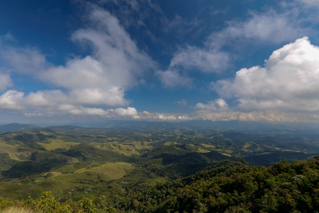 Low clouds covering the peaks of the hill, at the top of the serra da mantiqueira. minas gerais state, brazil