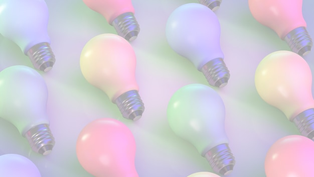 Low contrast decorative background with multi-colored light bulbs on the surface
