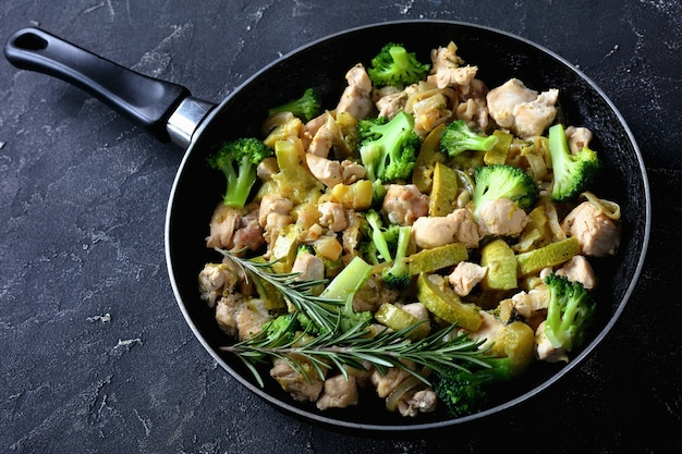 Low-fat dinner fried chicken meat with green vegetables: zucchini, broccoli, onion, and rosemary on a skillet