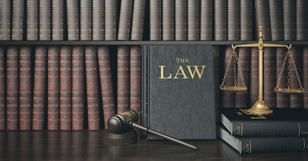 Low key filter law bookshelf with wooden judge's gavel and golden scale