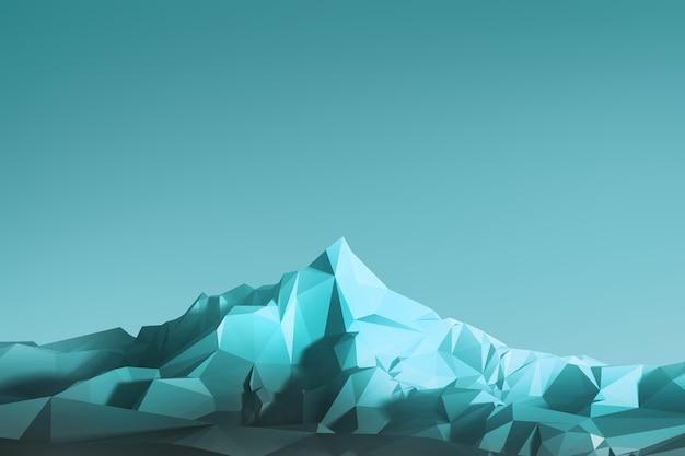 空を背景に高い山々をイメージした低ポリ背景。 3dイラスト