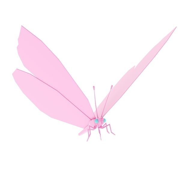 Полигональные бабочки низкополигональная, изолированные на белом фоне, 3d иллюстрация