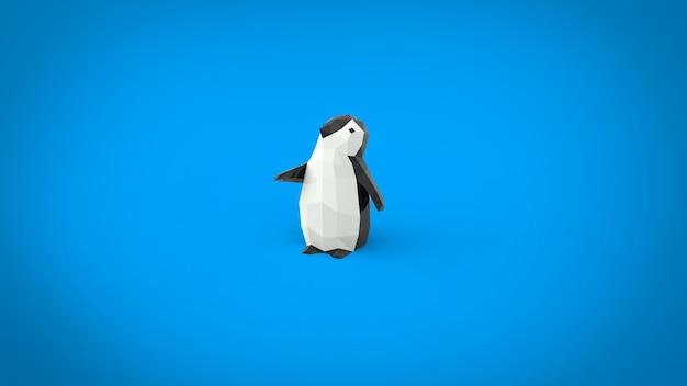 Низкополигональный ребенок маленький пингвин