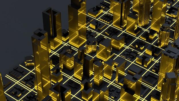 Низкополигональные виды на город сверху. 3d-рендеринг.