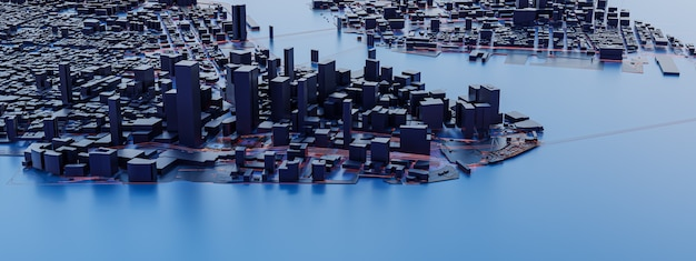 Low poly city views. urban technology concepts.