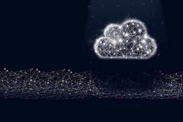 어두운 파란색 배경에 낮은 폴리 구름 기호 홀로그램 및 디지털 라인. 절약의 개념