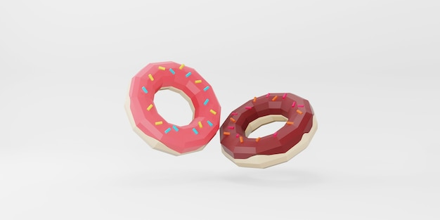 Low poly donuts on white background.