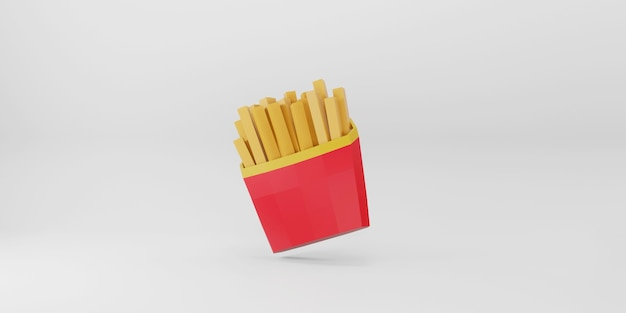 Low poly french fries on white background.